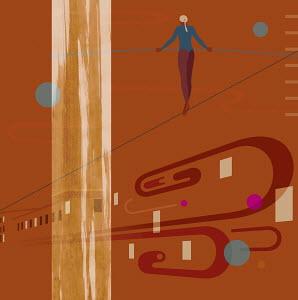 Woman in leotard walking tightrope