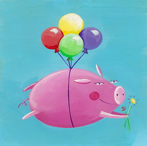Cute pink pig flying with balloons and bunch of flowers