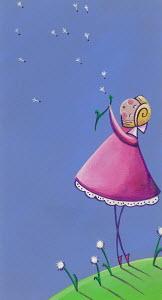 Cute girl blowing dandelion clock
