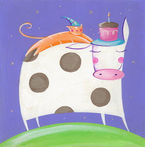 Cute cow, cat and birthday cake with one candle
