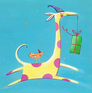 Cute bird and giraffe carrying birthday present to party
