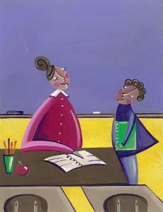 Teacher talking to pupil in classroom
