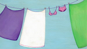 Drying clothes on washing line