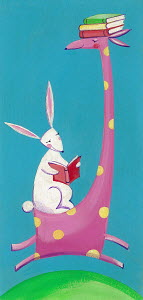 Cute giraffe and rabbit carrying and reading books together