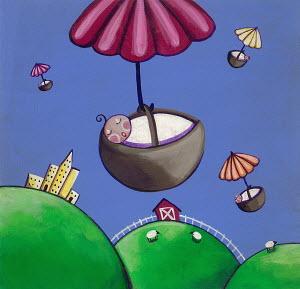 Umbrellas delivering new babies in baskets