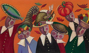 People celebrating Thanksgiving carrying food on head