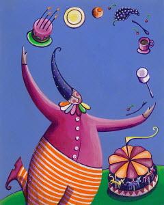 Clown juggling at birthday party