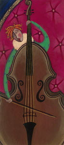 Musician playing the double bass