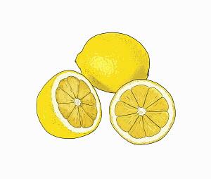 Lemons on white background