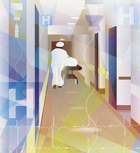 Nurse pushing hospital trolley bed up corridor