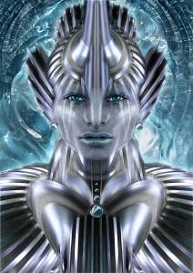 Futuristic female alien android