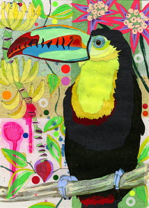 Toucan perching on branch