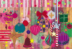 Lots of Christmas decorations hanging on strings, ribbons and bows
