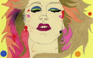 Close up of woman sleeping wearing bright makeup