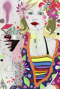 Young woman wearing flowers drinking tropical cocktail