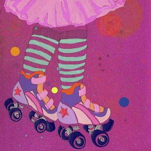 Low section of girl roller skating wearing pink tutu