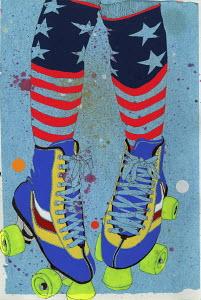 Girl's legs wearing funky stars and strips socks and roller skates