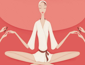 Pampered beautiful woman having manicure while meditating in yoga position