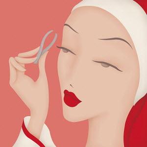 Close up of beautiful woman using eyebrow tweezers