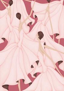 Crowd of elegant women dancing wearing pink dresses