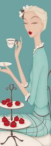 Beautiful elegant woman having afternoon tea