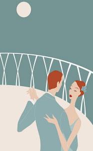 Romantic couple dancing on balcony at night