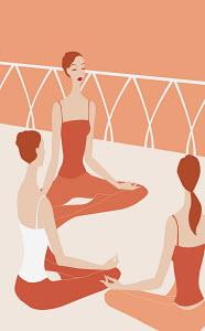 Three women practicing yoga