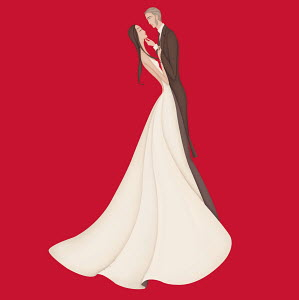 Bride and groom standing face to face on red background