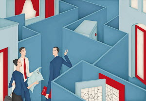 Couple discussing investment plan with financial adviser in maze hiding safe