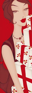 Close up of beautiful woman carrying pile of Christmas gifts