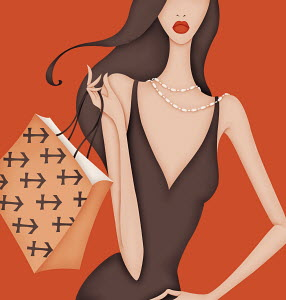Glamorous woman carrying shopping bag with Sagittarius symbol