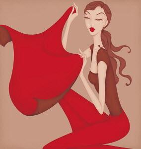 Beautiful woman holding red cape posing as Taurus