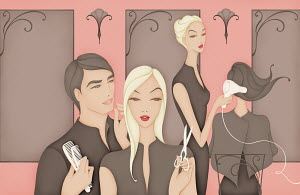 Hairdressers gossiping while colleague is excluded