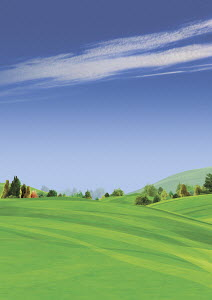 Tranquil green fields in scenic rolling landscape