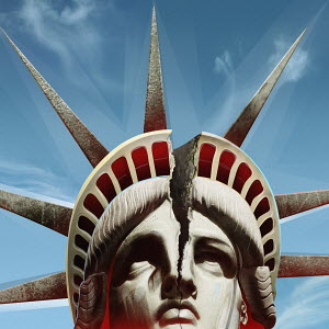 Close up of head of Statue of Liberty cracking