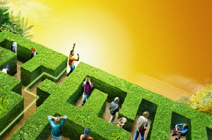 Man celebrating finding exit in hedge maze