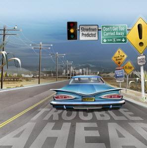Road signs warning car of economic slowdown