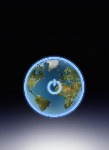 Power button switch around globe
