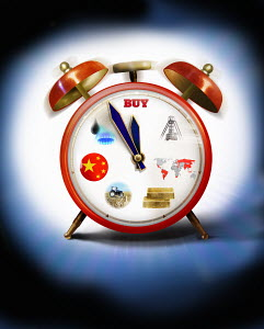 Alarm clock with commodities on clock face hands approaching midnight