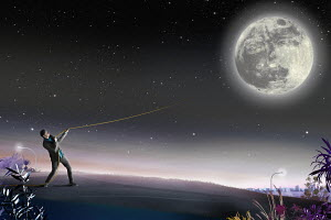 Man pulling rope attached to the full moon