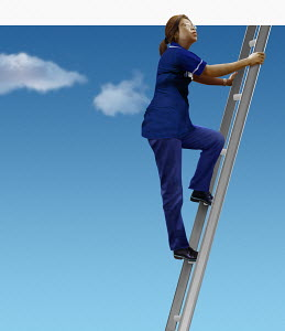 Nurse looking up climbing ladder in sky