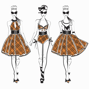 Three fashion models side by side approaching camera wearing plaid