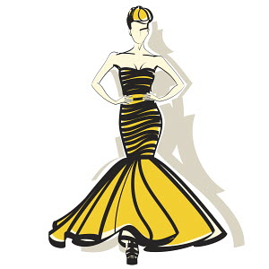Elegant woman wearing yellow and black evening gown