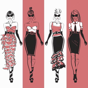Four elegant fashion models side by side approaching camera wearing black and pink