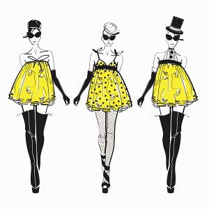 Three fashion models side by side approaching camera wearing yellow mini dresses