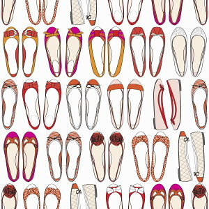 Rows of different ballet pump shoes