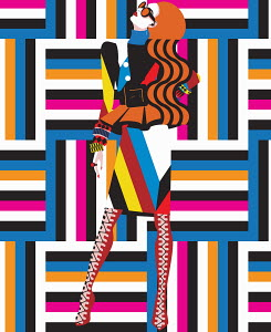 Funky fashion model in geometric pattern