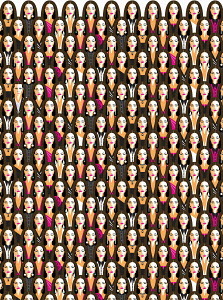 Repeat pattern of woman wearing different outfits