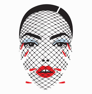 Beautiful woman's face behind net veil