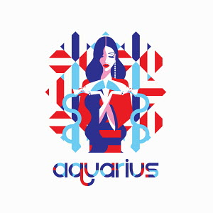 Fashion model in geometric pattern as aquarius zodiac sign
